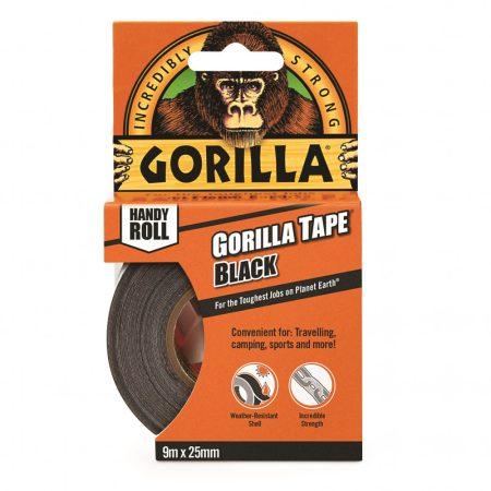 Gorilla Tape To-Go 25mm x 9,14m Handy Roll Fekete Extra Erős Ragasztószalag