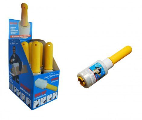 Blue Dolphin mini kézi stretch streccs raklap fólia, átlátszó, műanyag adagolóval, 100mm x 0,2 kg